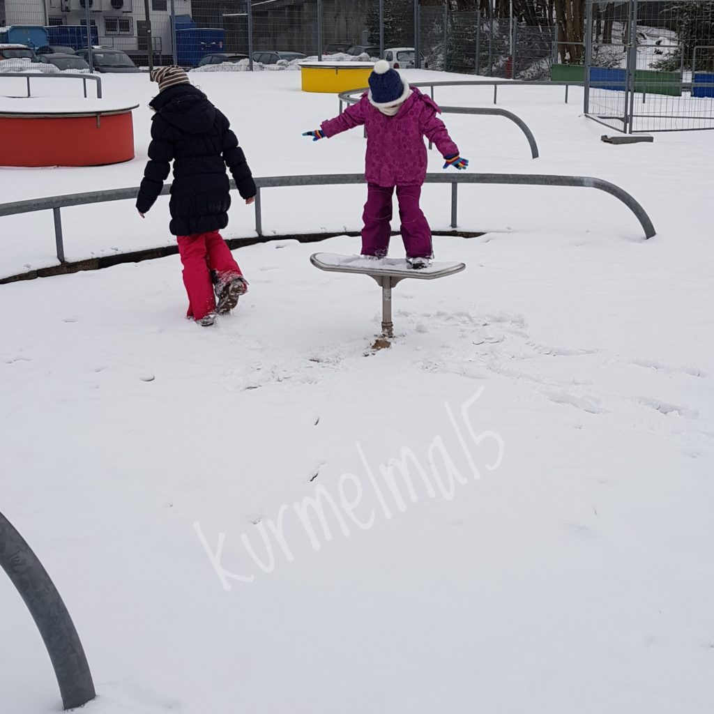 Spielplatz, Winter, Spass, Freude